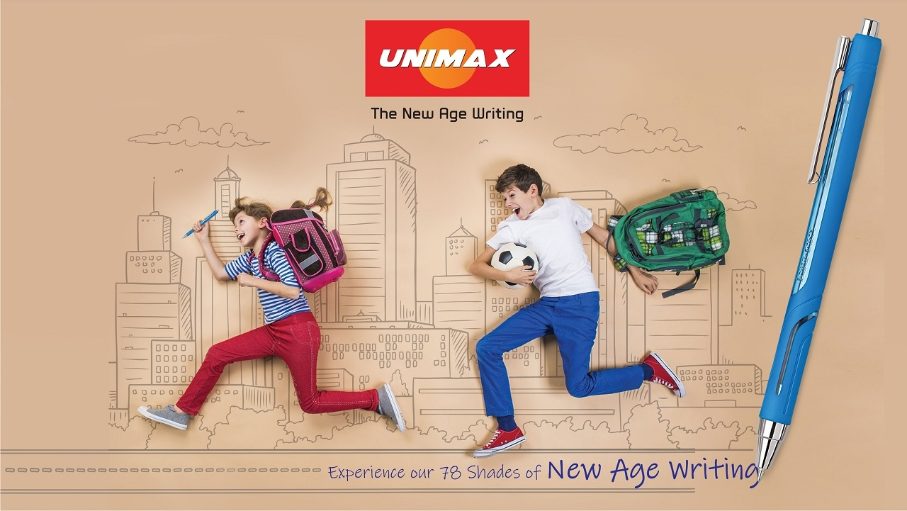 paperworld middle east unimax writing pen with kids running