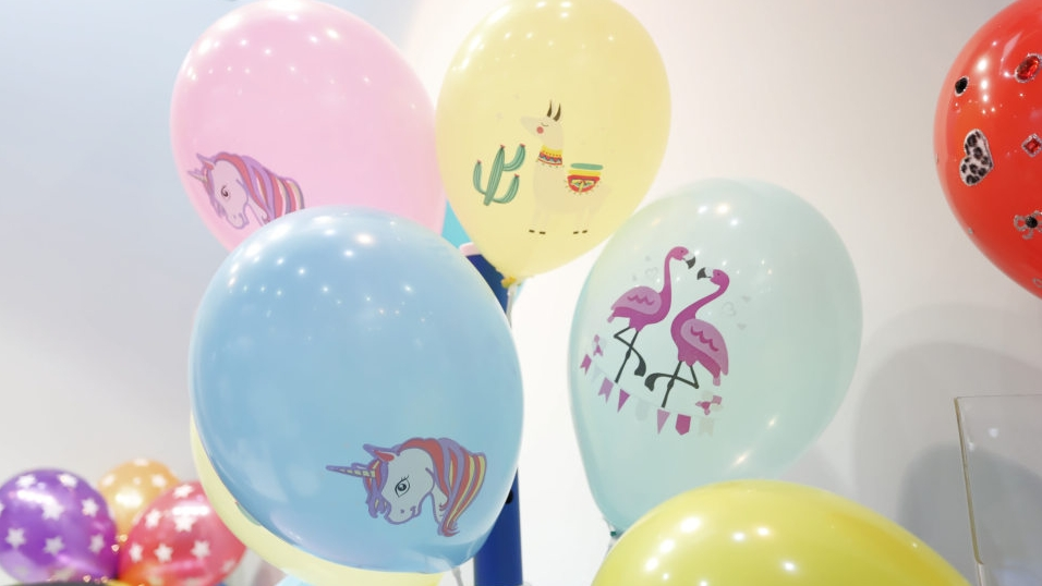 Balloons in playworld village at paperworld middle east